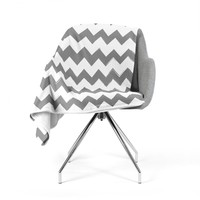 "KESS Original ""Candy Cane Gray"" Chevron Fleece Throw Blanket"