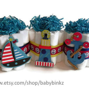 Mini Diaper Cake Nautical Trio  Anchor Boat & by BabyBinkz on Etsy