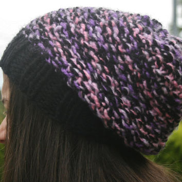 Hand Knit Hat- Women's- Teen- slouchy- beanie- winter hat- women accessories