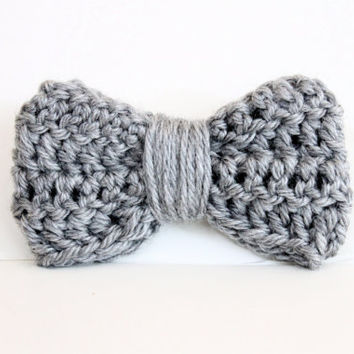 Crochet Hair Gray : Crochet Hair Bow Clip - Gray - Fall - Trendy - Girls - Women - Kids
