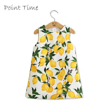 Girls Dress 2017 Summer Girls Dresses Kids Clothes Cotton Lemon Floral Print Wedding Dress Girl Vetement Fille