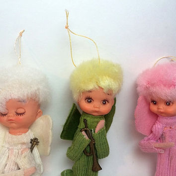 Fuzzy Hair Angel Christmas Ornaments Trio Oddity Duck Face Mid Century Pink Green White Japan Felt Free US Shipping Soaring Hawk Vintage