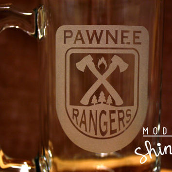 Pawnee Rangers Etched Glasses- Beer Mug, Pint, or Pilsner! - Pawnee Ranger Badge