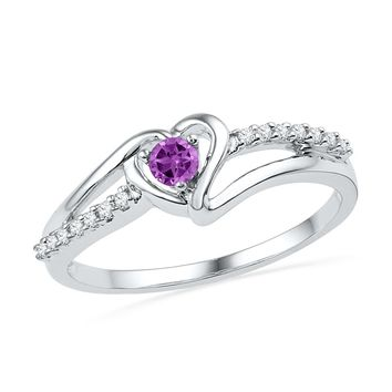 10kt White Gold Womens Lab-Created Amethyst Heart Love Ring 1/5 Cttw