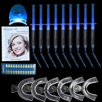 Home Professional Teeth Whitening Kit Packed with 9 Pieces Whitening Gel 6 Pieces Mouth Trays and 1pc Whitening Light  Bonus Shade Guide and Using Manual