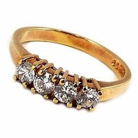 Four Stone Ring Vintage Gold Tone Cubic Zirconia Size 9 r202