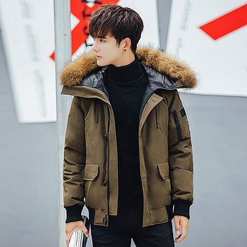 2017 New Pattern Men's Trend Down Jackets Loose hooded Coat Short Fund Thickening Self-cultivation Hair Lead Keep Warm Parka