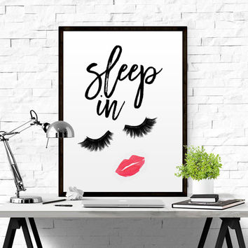 "Printable Art ""Let's Sleep In"" Dorm Art Wall Print Girl Print Gallery Wall Prints Typography Prints Bedroom Prints Dorm Decor Dorm Prints"