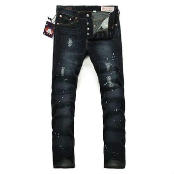 2018 Evisu New Men's Jeans Classic Hole Casual Hip Hop Trousers Pants Washed High-Quality Full-Length Men's Pants 6005