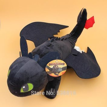 5 Sizes Cartoon How to Train Your Dragon Cosplay Black Dragon Toothless Night Fury Plush Toy Soft Stuffed Animal Doll