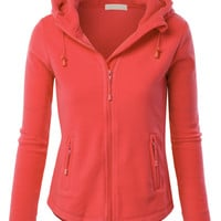 LE3NO Womens Active Basic Fitted Zip up Fleece Hoodie Jacket