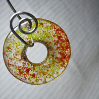 ONE Glass Meditation Circle Pendant / Medium Round Donut Focal Bead / Yellow  with Red Sprinkles / Craft Supply / Kiln Cast Glass
