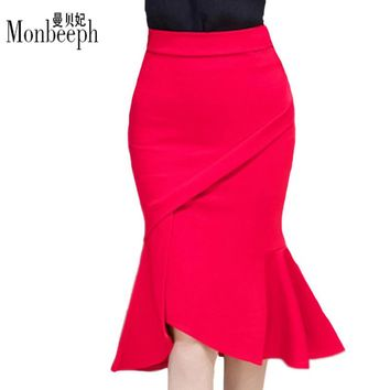 Hot sale Women Skirts Plus Size High Waist Bodycon Skirt Black Red Elegant Office Ladies Ruffles Hem Mermaid Skirt for women