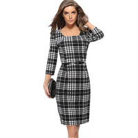 Women's Fashion Plaid Three-quarter Sleeve Slim One Piece Dress [9408674060]