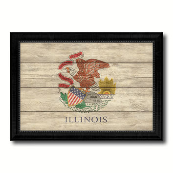 Illinois State Flag Texture Canvas Print with Black Picture Frame Home Decor Man Cave Wall Art Collectible Decoration Artwork Gifts