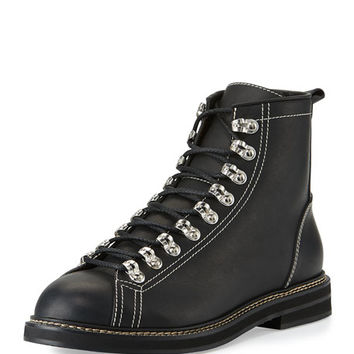 Givenchy Tyrol Leather Lace-Up Boot, Black