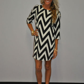 Cloud Nine Chevron Dress Black and White