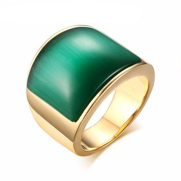 Vintage Stainless Steel Green/Brown Stone Ring