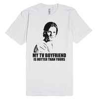 My TV Boyfriend Is Hotter Than Yours (Sam)-Unisex White T-Shirt