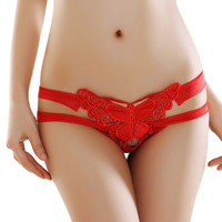 Red Lace Straps Butterfly Accent Thong