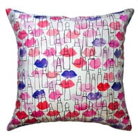 Lips and Lipstick Outline Pillow