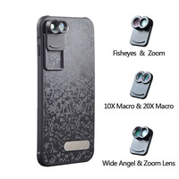2017 New APEXEL Dual Phone Lens Wide Angle Zoom Telescope Macro Fisheye Camera Mobile Lens kit with Case for Apple iPhone 7 plus