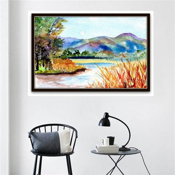 Lake watercolor painting abstract australian landscape mountain wall art printblue eaarth color forest decor decal print small living room