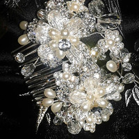 Gorgeous Vintage Hand Wrapped Hair Comb Crystal & Faux Pearl - High Bling Silver Metal Hair Comb Bridal Accessory