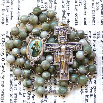 Saint Francis Rosary - St. Francis Rosary, San Damiano Crucifix, Franciscan, Light Green Peace Jade Gemstone Beads
