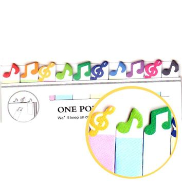 Colorful Treble Clef and Musical Notes Shaped Music Themed Sticky Post-it Memo Bookmark Tabs