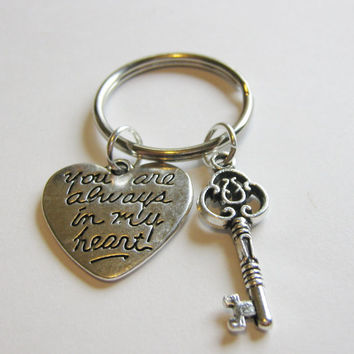 1 Key You Are Always In My Heart Keychain Best Friends BFF Sisters Couples