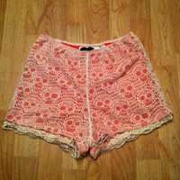 Vintage style coral & cream lace skull high by GlitternLace