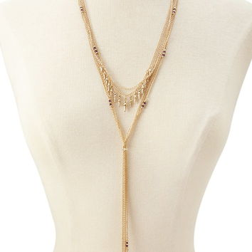 Bead Layered Drop Necklace
