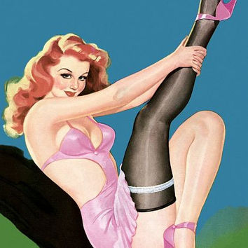 Pin Up Girl Redhead Pinup Girl Pink Lingerie Poster
