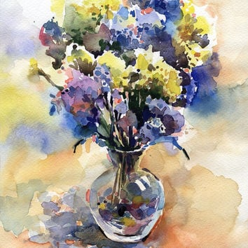 "Original watercolor floral painting ""Blue and yellow flowers"" paper"