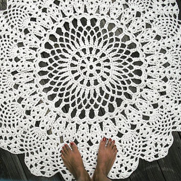 "Ecru Off White Cotton Crochet Rug in Large 42"" Circle Pineapple Lacy Pattern Non Skid"