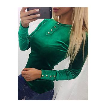 Candy Color Buttons Decoration Slim Long Sleeves T-shirt
