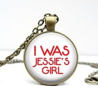 Jessie's Girl Necklace - 80s Style - Glass Picture Pendant Photo Pendant (1708)
