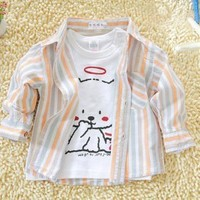 Indian Baby Boy Cotton Plaid Long Sleeve Shirts for Sale