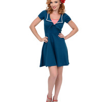 Teal Savvy Sailor Fit N Flare Dress