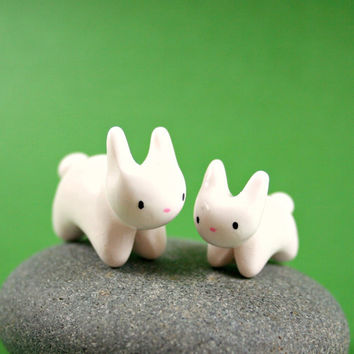 Mommy And Baby Bunny Set - Hand Sculpted Miniature Polymer Clay Animal
