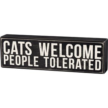 Cats Welcome Box Sign in Wood with White Lettering
