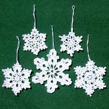 Crochet snowflakes Christmas tree ornaments 5 crochet snowflakes Christmas decorations New year decoration white snowflakes decorations
