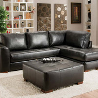 Classic Black Two Piece Couch | Capri Black 2 PC. Sectional Sofa | American Freight