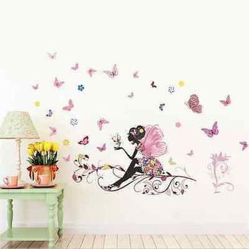 Beautiful Flower Fairy Wall Sticker Decals Wing Moon Butterfly Girls room Decor Flower Fairy Sitting Vines Wall Stickers