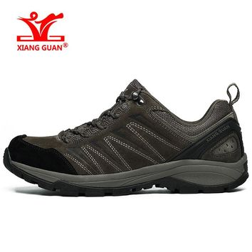 Brand XIANGGUAN 2017New Lovers Hiking Shoes Men Sneakers Women Climbing Sport Shoe Athletic Breathable Suede Calfskin Anti-slip