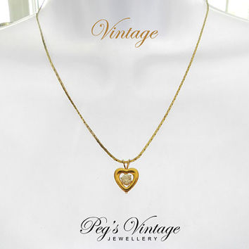 Vintage Gold Heart With Center Crystal Necklace/Rhinestone Necklace/Choker Costume Jewelry, Gift Idea