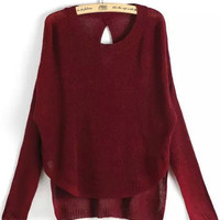 Wine Red Long Sleeve Sweater