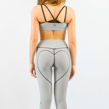 Nina B Roze Heart Butt Yoga Capri Light Grey
