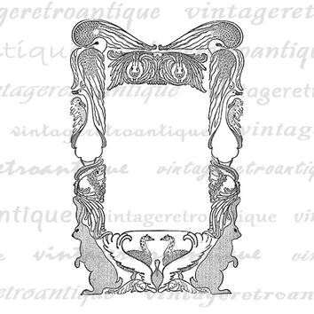 Animal Frame Border with Birds Rabbits Digital Graphic Printable Download Image Antique Clip Art Jpg Png Eps  HQ 300dpi No.2631